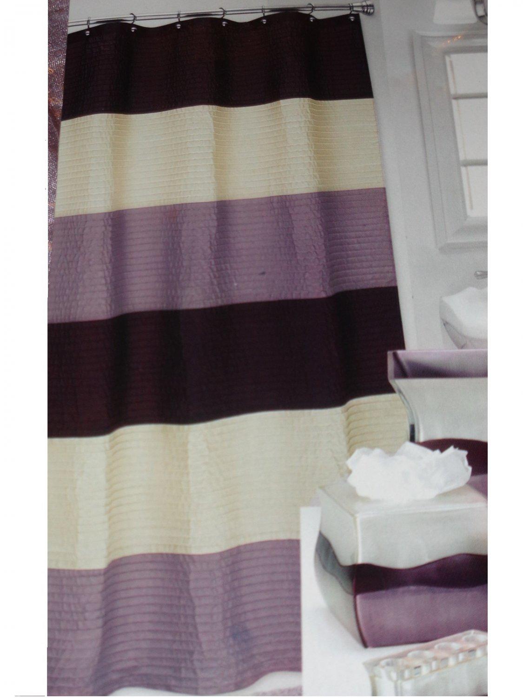 Popular Bath Reflection Lilac Cream Brown Striped Shower Curtain