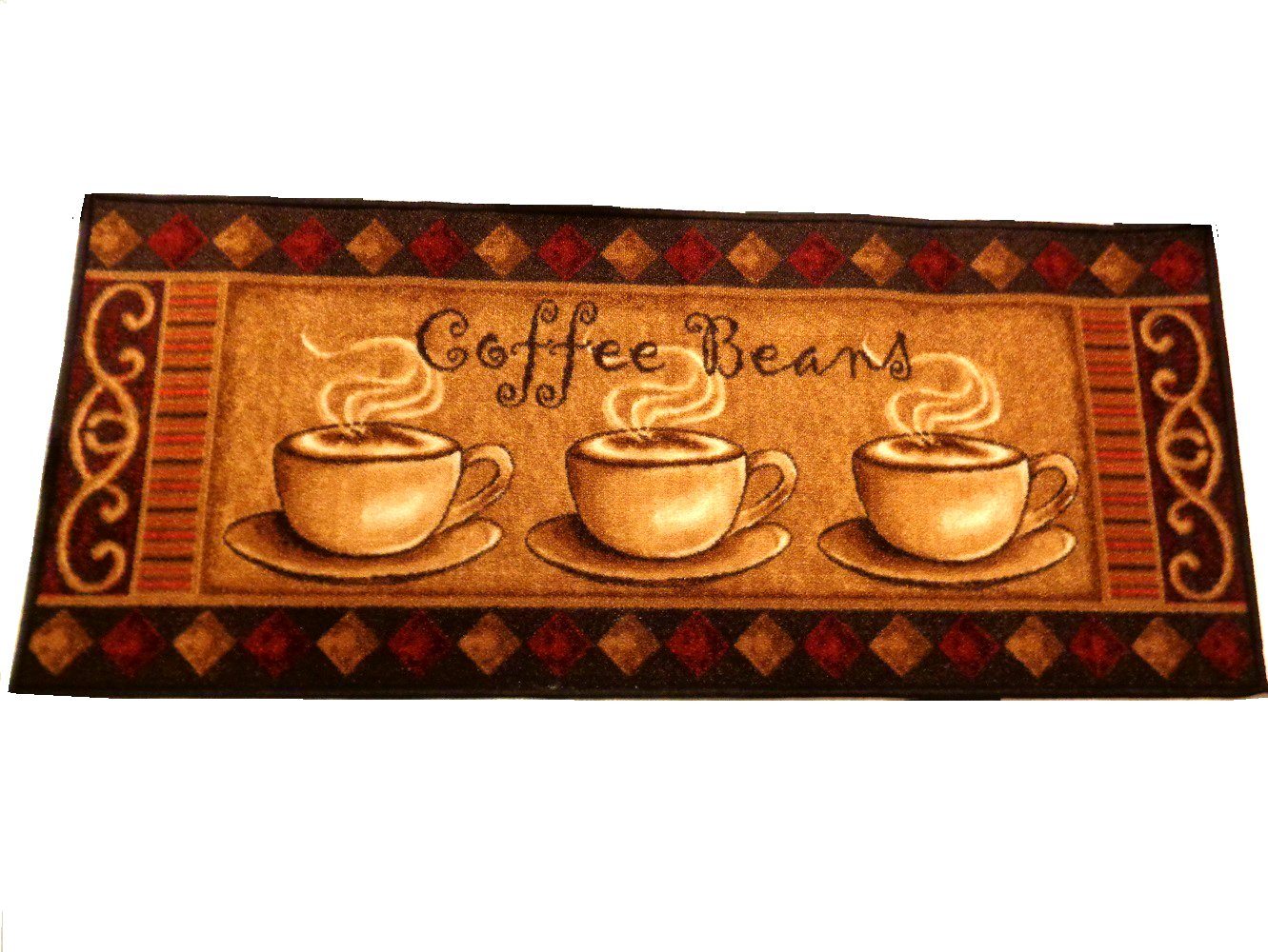 Coffee Beans Kitchen Rug Runner Coffee Cups