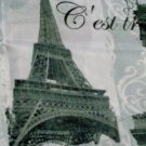 Paris Stamps Eiffel Tower Fabric Shower Curtain