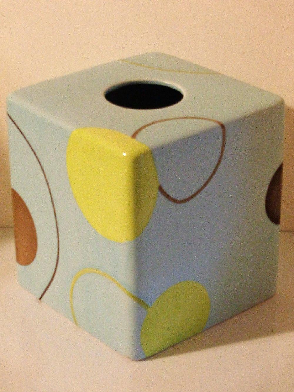 Modern Circles Game Ceramic Tissue Box Cover