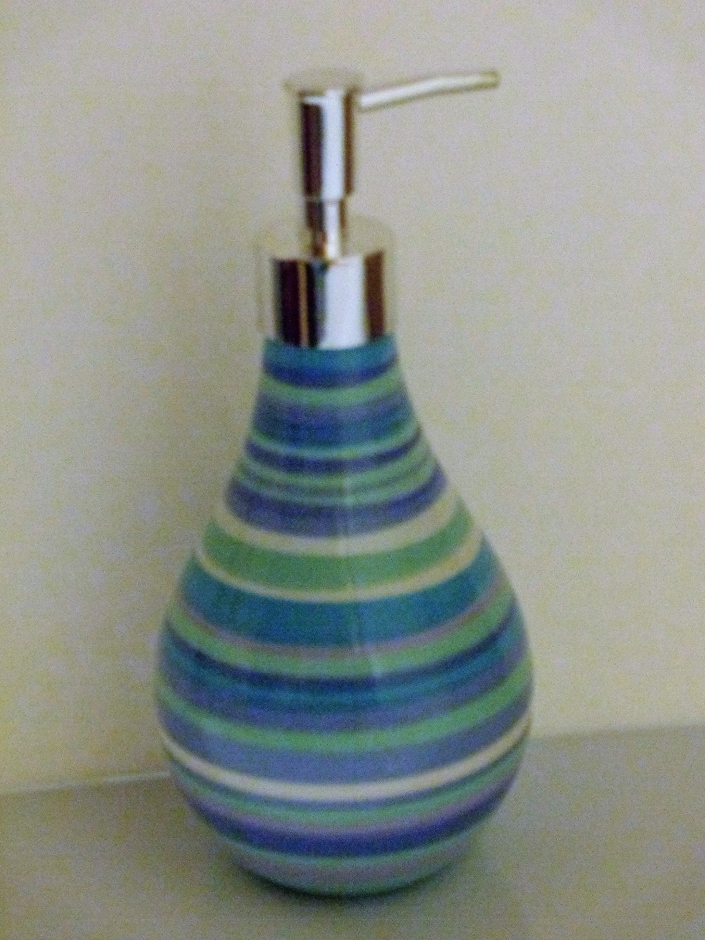 Palm Beach Blue Striped Lotion Dispenser Soap Pump