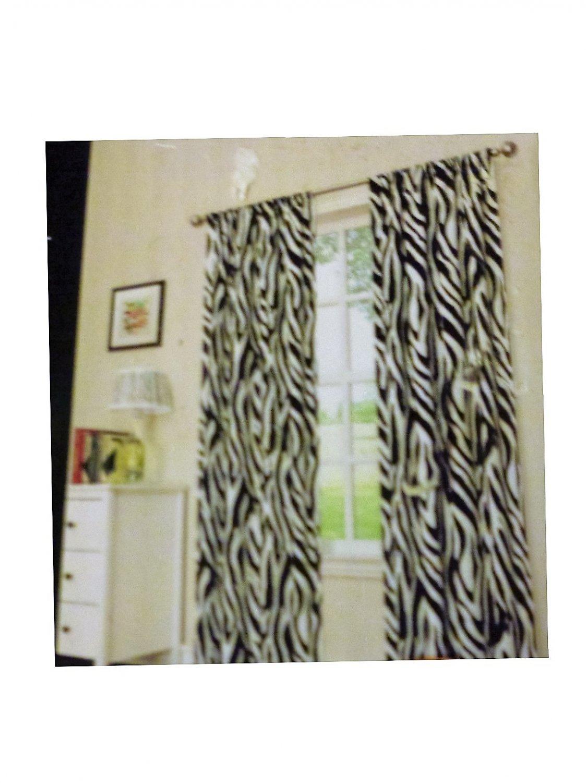Zebra Print Curtains Panels Set Room Darkening