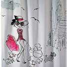 Avanti Chloe Pink Black Fabric Shower Curtain