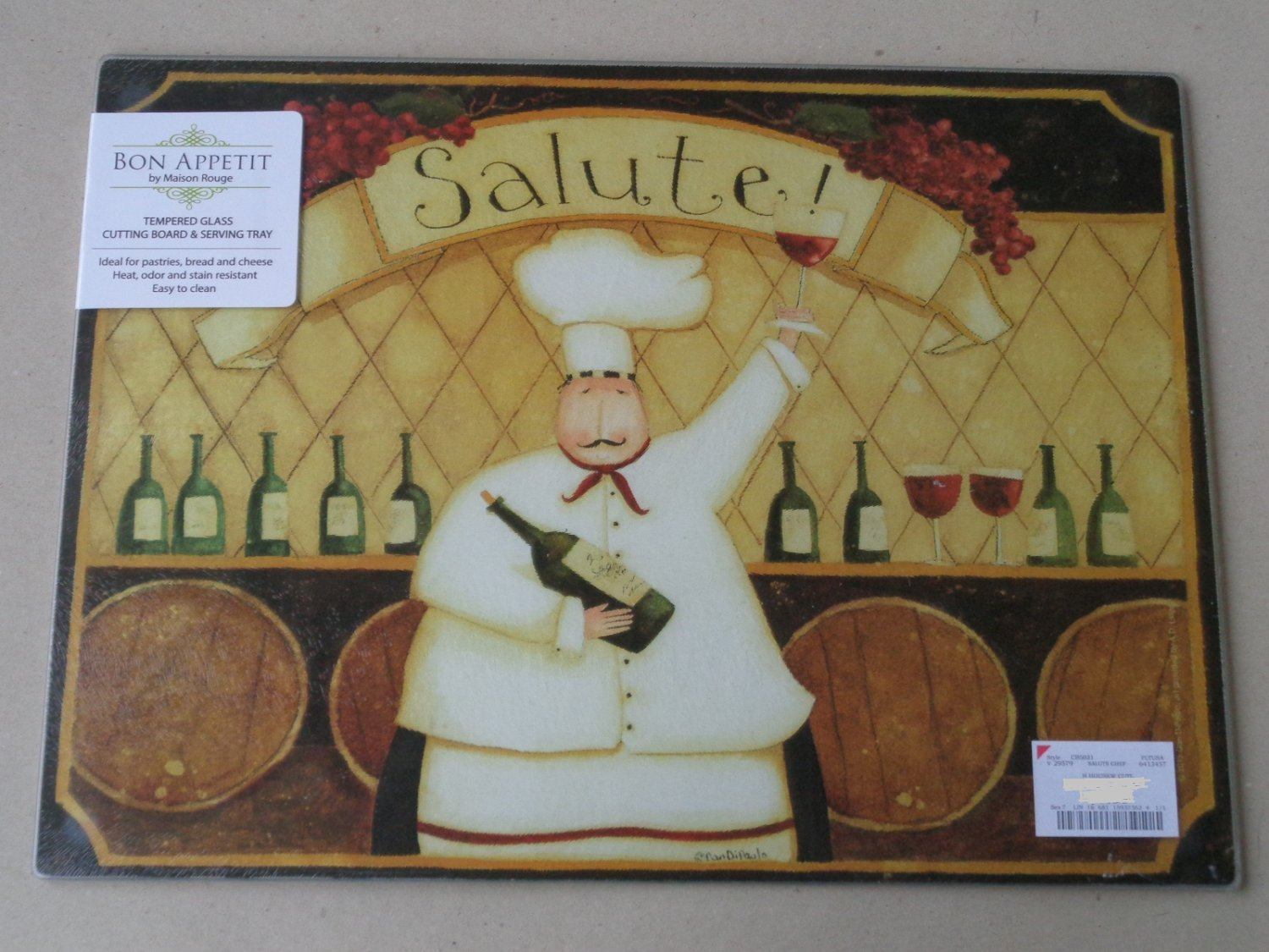 Maison Rouge Fat Chef Wine Glass Cutting Board Serving Tray