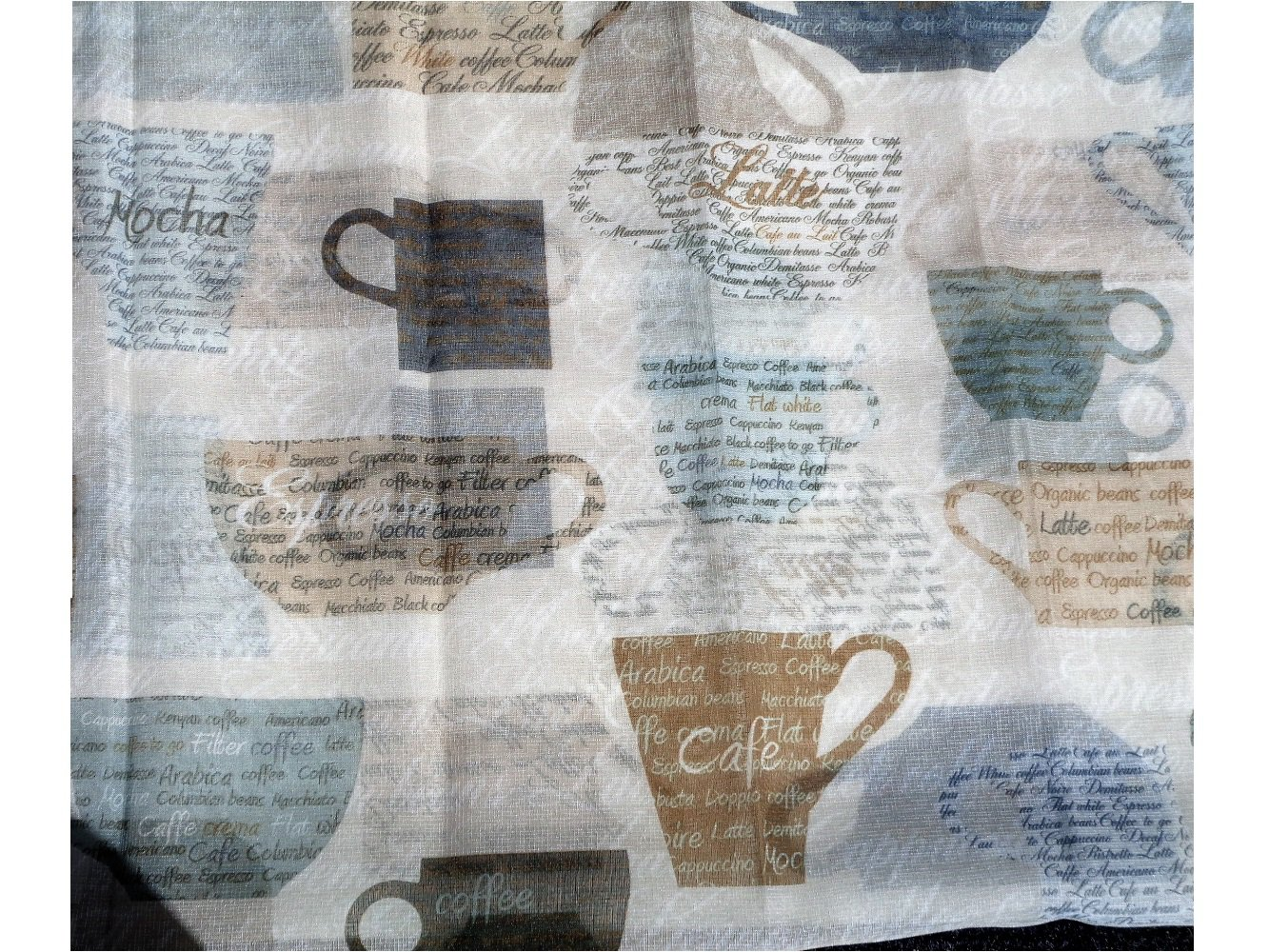 Coffee Cups Kitchen Curtains Tiers Valance Set