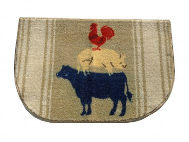Cow Pig Rooster Kitchen Rug Country Decor