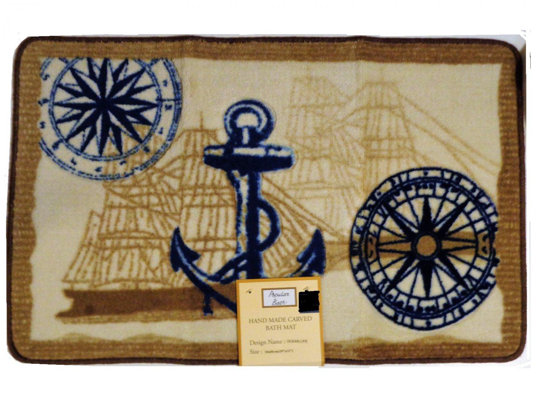 Ocean Life Nautical Bath Mat Anchor Seashells Compass