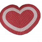Red Heart Shaped Braided Rug