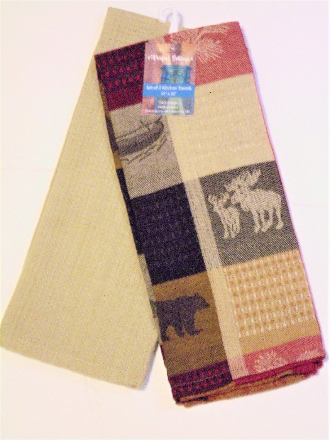 Moose Bear Canoes Autumn Leaves Kitchen Towels Set