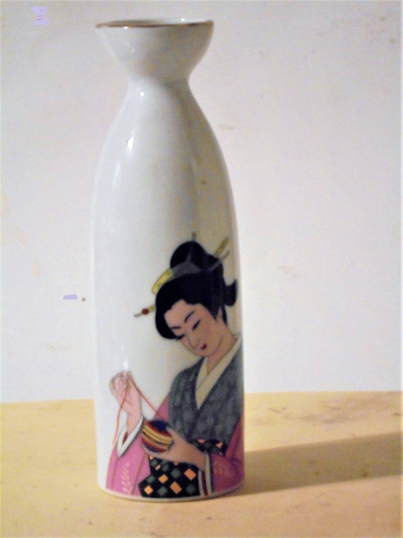 White Porcelain Saki Bottle Oriental Lady