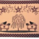 Country Primitive Americana Placemats Set Stars Sheep Crows