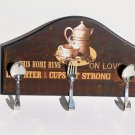 Coffee Kitchen Sign Spoons Fork Wall Hooks Plaque