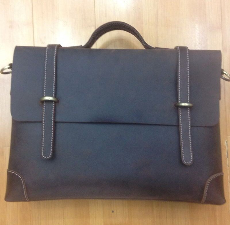 Berti Distress Cow Leather Laptop Bag LH928 Dark Brown