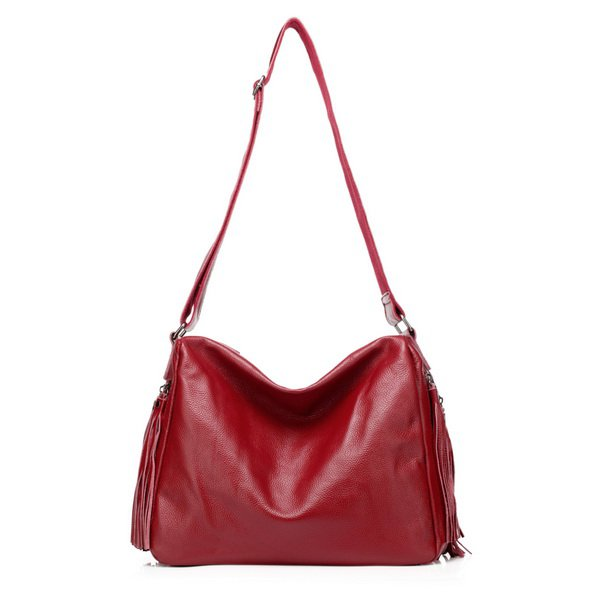 Danny Cowhide Leather Cross Body Bag LH947 Red