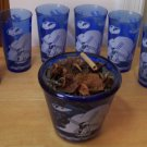 Hazel-Atlas Glass Ritz cobalt blue Windmill Ice Pail ca 1930 ice bucket and 6 glasses