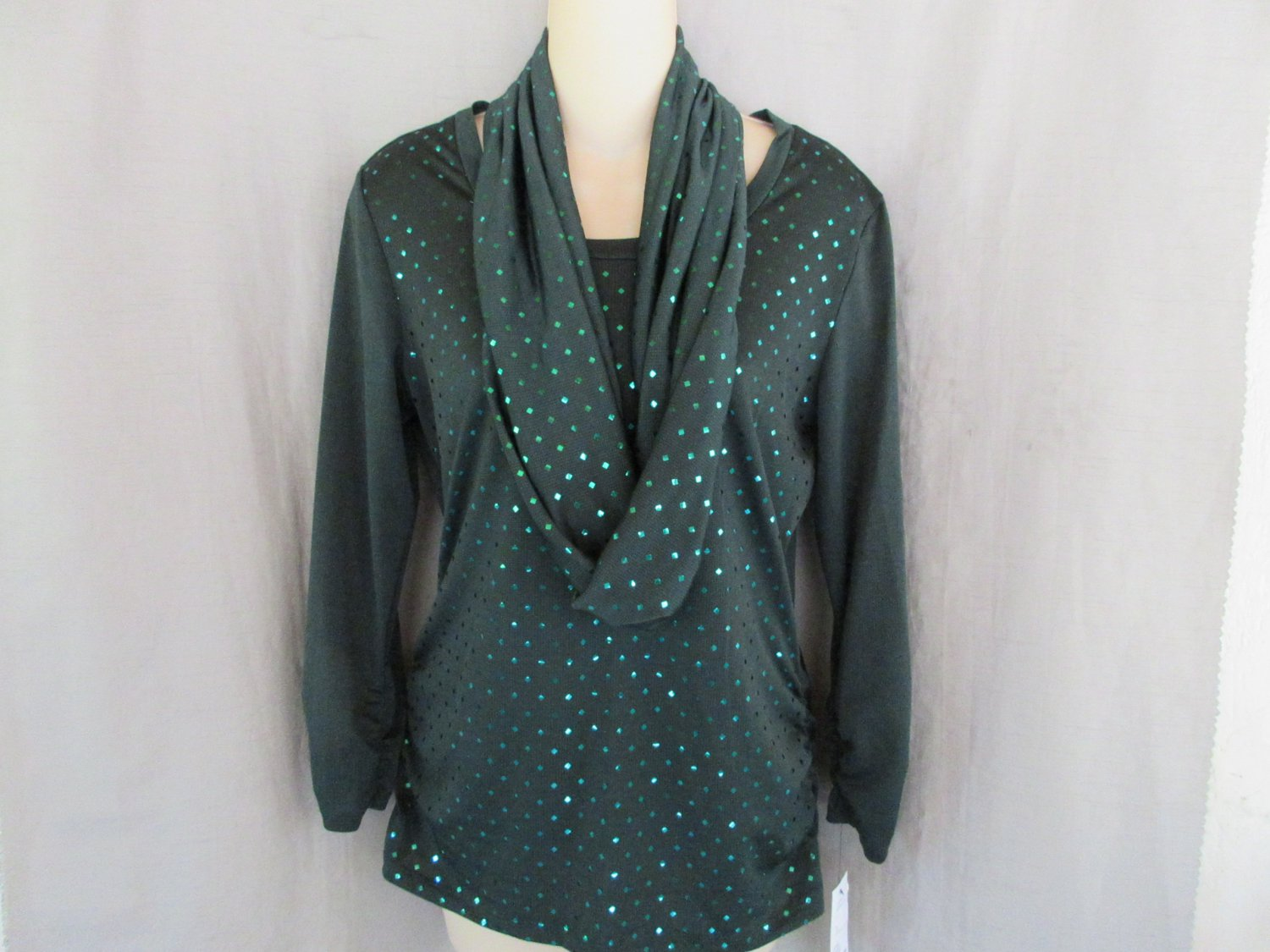 NEW NY Collection 2 piece set top scarf S forest green sequin trim ruched sides & sleeves