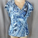 NEW Larry Levine top blouse L blue paisley surplice cross-over cap sleeves