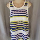 1.STATE tank top Medium blueberry white split back open weave mesh lined