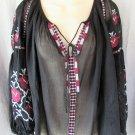 NEW Cliche' peasant top S/M black embellished raglan bishop sleeves semi-sheer