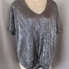 NEW Carolina Belle Montreal top L  metallic black silver glitter dolman cap sleeves