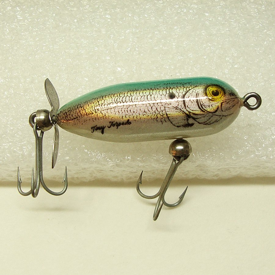 Heddon tiny torpedo fishing lure g finish blue shad for Vintage fishing lures for sale