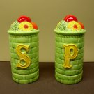 Green Glaze Basket Weave Country Style Salt and Pepper Shakers