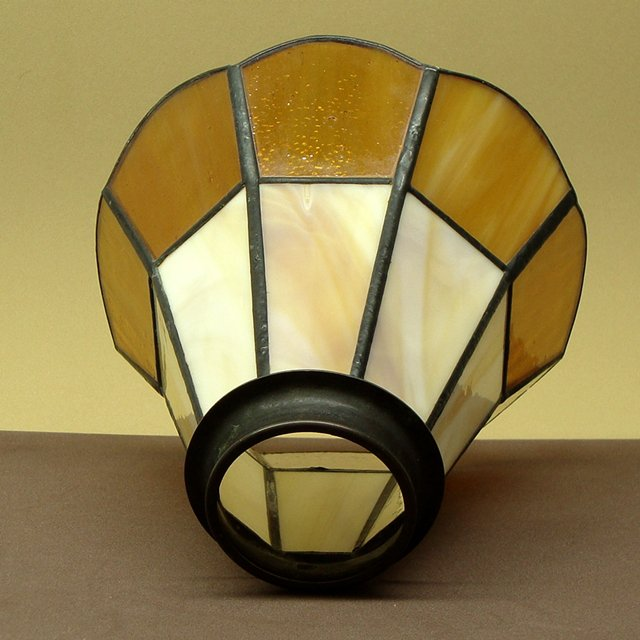 Vintage Leaded Glass Lamp Shade, Brownish Yellow, White and Amber