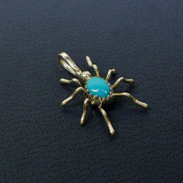 December Birthstone Pendant,Turquoise Sterling Silver Spider!