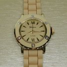 Geneva Ladies White Crystal Tan Gold Tone Watch