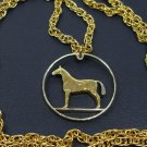 Jewelry Coin Art, 2-toned Irish Horse Necklace w/14K gold layered 24 in. rope