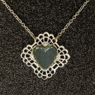Vintage Black Pearl Heart-Shaped Acrylic Stone Necklace