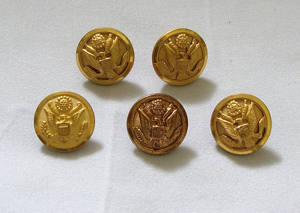 Military Buttons Waterbury, Fine Quality, Buttonworks  Lot of 5