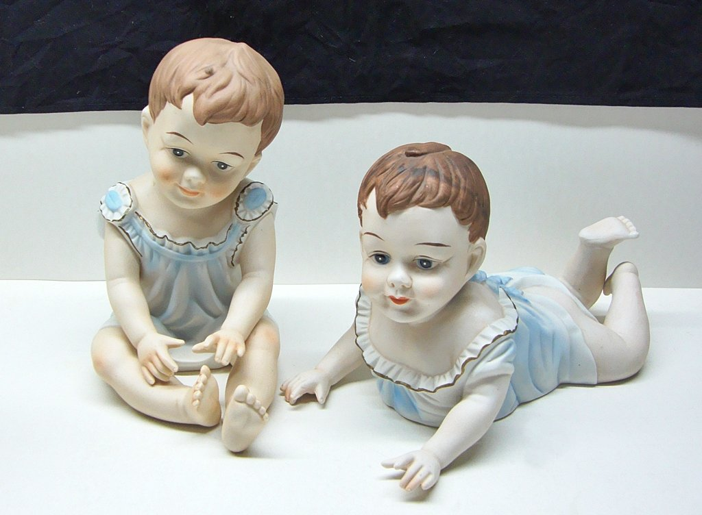 Large Porcelain Babies Lot of 2 Boys