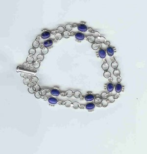 Lapis Lazuli Bracelet, sterling silver, semi-precious gemstone