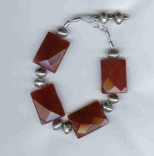 Carnelian and Silver Bracelet, sterling silver, semi-precious gemstone