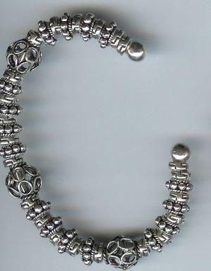Bali Silver Bracelet,  sterling silver, Torque, bangle