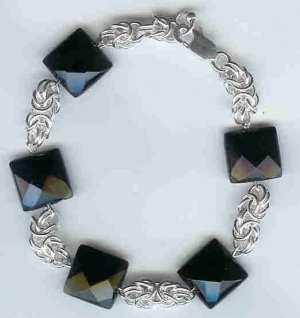 Black Onyx and Byzantine Chain Maille Bracelet