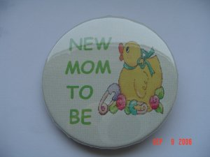 """New Pinback Button """"New Mom to Be"""" with Duck Baby"""