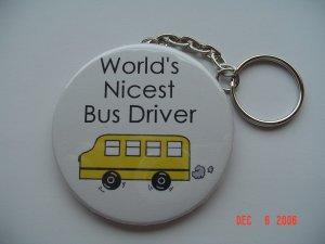 World's Nicest Bus Driver Keychain Boys Girls School Bus Baby