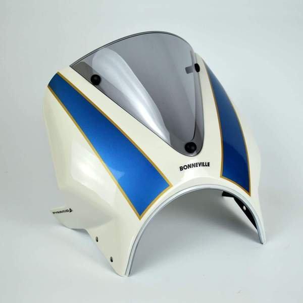 Triumph Bonneville T100 / T120 (16+) Fly Screen White and Blue 26002D