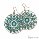 Antique Teal Cutout Fashion Earrings