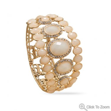 Ivory Acrylic Stretch Fashion Bracelet with Crystal