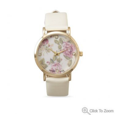 Ivory Leather Fashion Watch with Floral Design