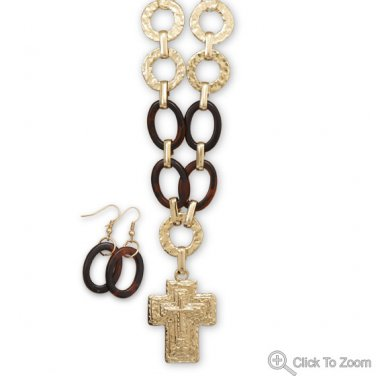 Gold Tone Textured Cross Fashion Necklace Set