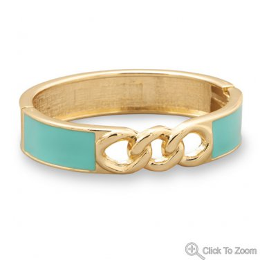 Gold Tone Link Fashion Bangle Bracelet