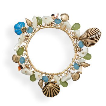 Gold Tone Sea Shore Themed Stretch Fashion Bracelet