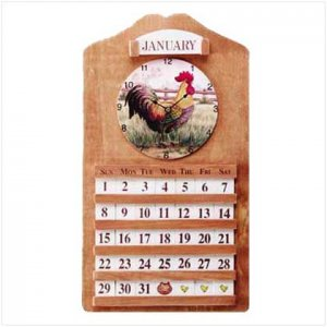 Rooster Calender and Clock