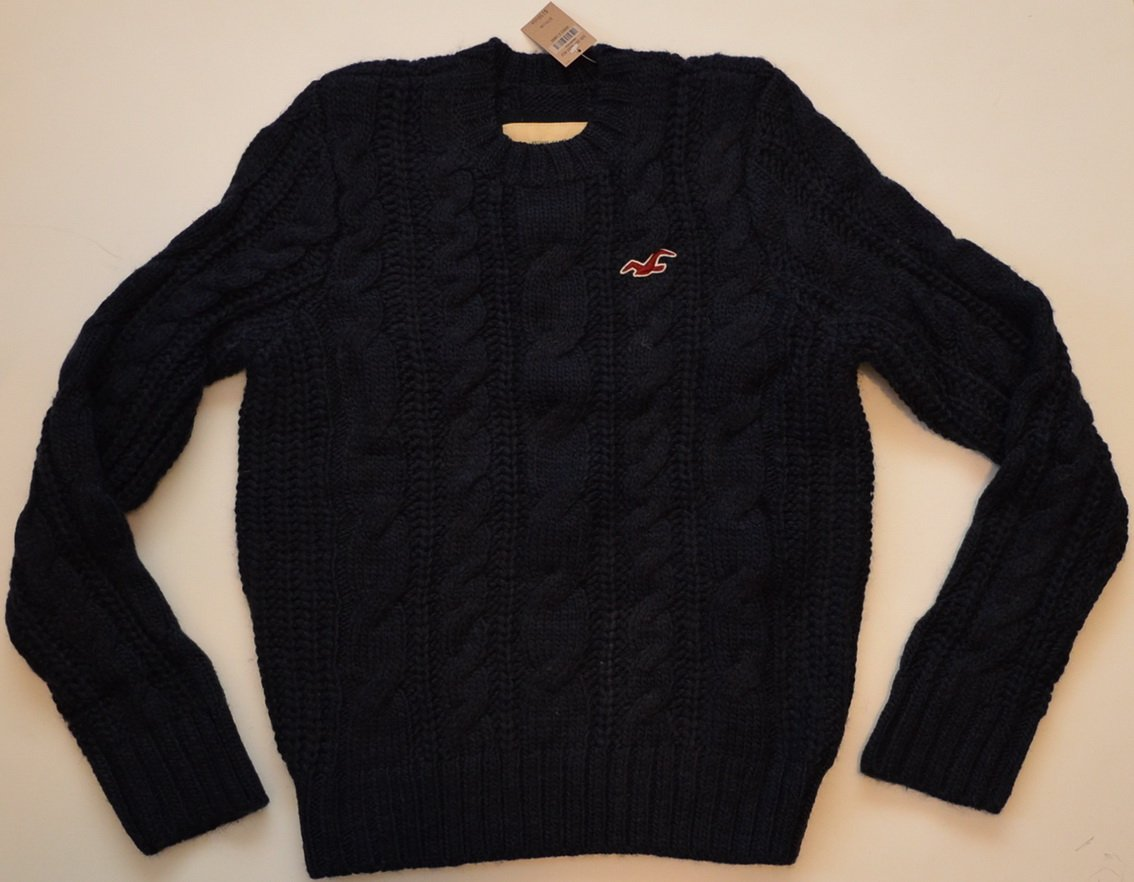 L854 New Mens sweater HOLLISTER Size XL Black MSRP $150.00