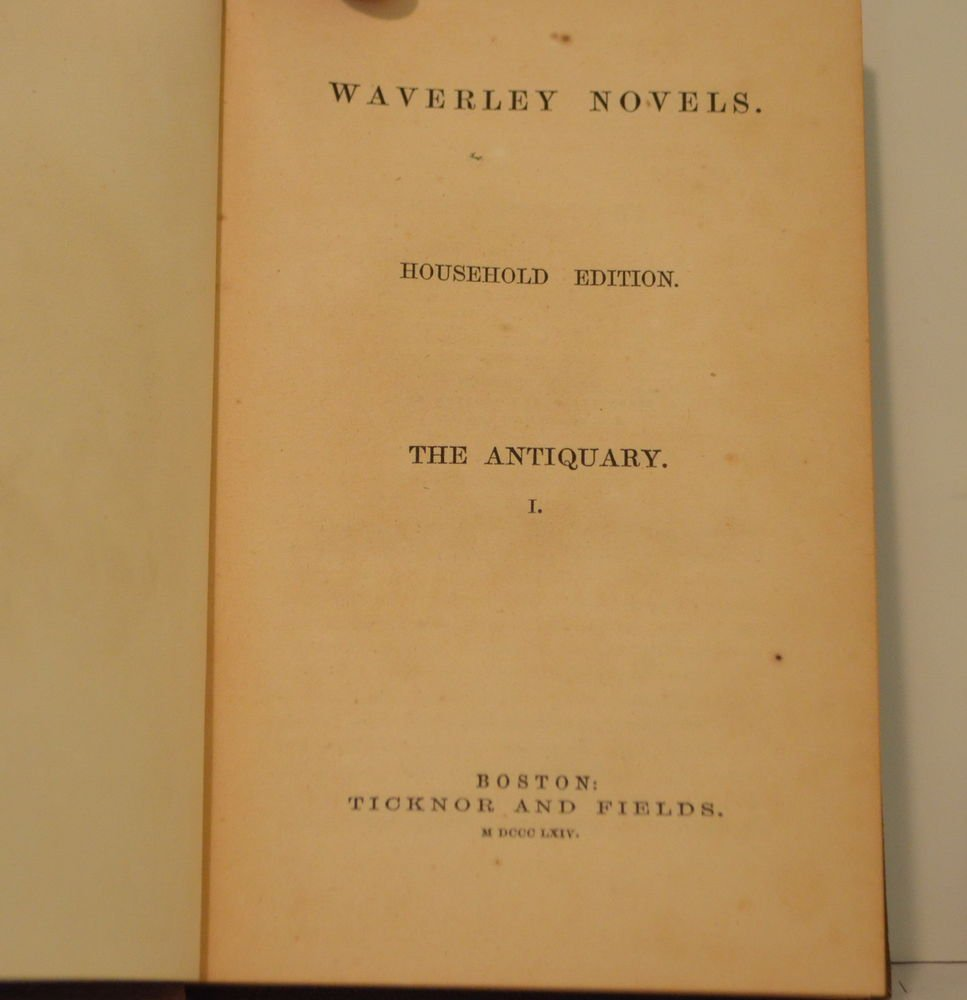 WAVERLEY NOVELS: The Antiquary Vol 1 Household Edition 1864 Good Condition