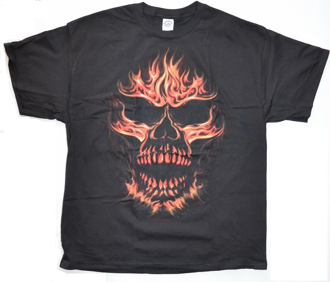 New Motorcycle Graphic T-shirt w/ Skull Fire Size L